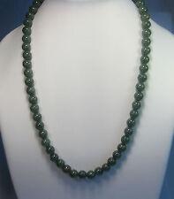 Grade A dark green jade 9mm beaded necklace