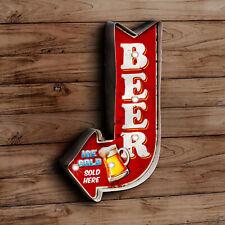 Blechschild Beer Pfeil LED Beleuchtet