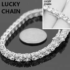 7.5''14K WHITE GOLD FINISH ICED OUT 1 ROW TENNIS LINK BRACELET 5MM 17g