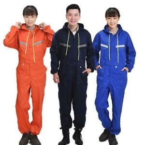 Men Women Coveralls Overalls Workwear Mechanic Jumpsuit Protective Reflective