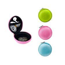 1 Pc Round Zipper Pouch Key Ring Chain Case Mini Purse Coin Change Wallet Bag