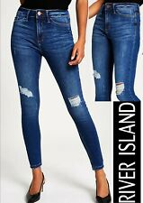 River Island Blue Ripped Molly Mid Rise Jeggings (7773)