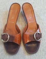 PRADA Italy Women's Leather Brown Slip On Sandals w Buckle Shoe Size 8 EUC $680