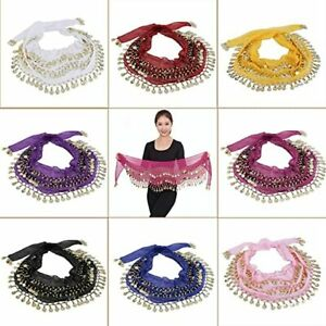 3Rows Belly Dance Wrap Belt Dancer Skirt Costume Coins All Colours Hip Scarf*Bly