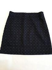 J CREW Exploded Eyelet Mini Skirt Size 00 Navy Blue 100% Cotton EUC Pretty!