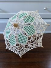 Ivory Lace and Green Parasol for 18in Doll and American Girl Dolls