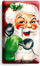 RETRO CHRISTMAS SANTA CLAUS ON PHONE SINGLE LIGHT SWITCH WALL PLATE COVER DECOR