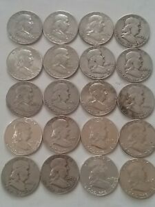 1 Roll of Benjamin Franklin Half Dollar 20 Coins Different Year and Grade