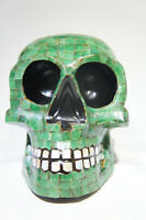 Rare Mayan Skull Head Green Jade Mother Pearl and Oxidian Black from Yucatan