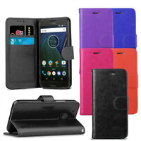 For Motorola Moto G5 Plus - Premium Leather Wallet Flip Case Slim Cover + Screen