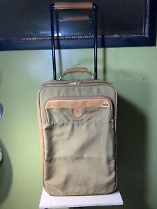 Hartmann Ballistic Nylon Rolling Carry On Suitcase Leather Trim Expandable