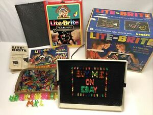 LITE-BRITE Vintage 1967 Hasbro Original 5455 BOX PEGS SHEETS Refill Kit Picture+