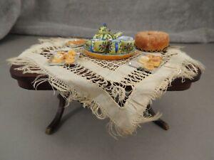 12 VINTAGE DOLLHOUSE MINIATURES TABLE TABLE CLOTH CHINA TEA SET BAKED GOODS