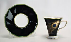 Noritake Tea cup Peacock Feather Motif  Nippon Porcelain Minty Deco Style