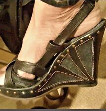 FENDI Leather And Denim Canvas Studded Wedge Sandals Size 37