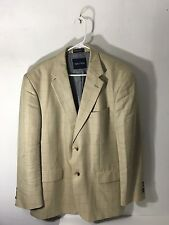 Nautica Tan Sport Coat/Blazer- 42 r, yellow and blue windowpane, silk blend