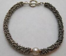 Michael Dawkins QVC 925 & 14k Gold Granulation Pearl Toggle Bracelet