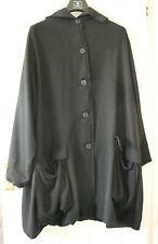 Rundholz Women's Black Oversized Frayed Coat Jacket Size M Medium Used Condition