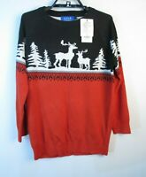 Holiday Christmas Sweater Ugly Boys Sz XL Black Red White Deer NWT