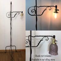 Antique Vtg Bridge Floor Lamp Wrought Iron Brass Arts & Crafts Deco Industrial