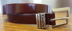 """Full Grain Cowhide Belt-Size 27-31""""-Levis Jeanswear-Brown-Metal Buckle-1921-USA"""