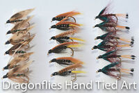 18 Wet Fly Fishing Green Peter,Claret Bumble & Connamara Black by Dragonflies