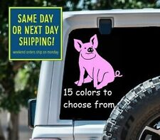 8 Sizes Cute Sitting Pig Car Window Decal Sticker Macbook Laptop Tablet Gift