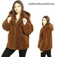 Brown Faux Fur Shearling Sherpa Hoodie Fleece Teddy Bear Jacket Coat S M L XL