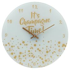 Wall  Clock It's Champagne Time Round Glass 35cm White Gold Gift New
