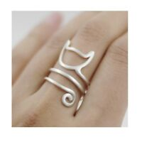 925 Sterling Silver Cat Kitten Open Ring Women Ancient Style Plume Adjustable