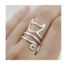 925 Sterling Silver Cat Kitten Open Ring Women Ancient Style Plume Adjustable