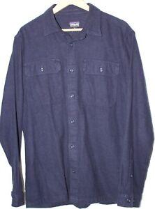 Patagonia Fjord Organic Cotton Flannel Shirt Navy Medium