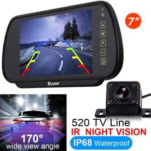 "Car Bus Rear View Kit 7"" Mirror Monitor + Color IR Night Vision Reversing Camera"