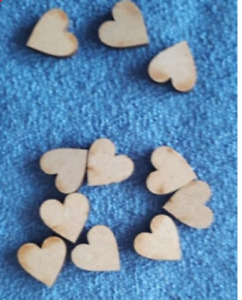 25/50 x MDF wood 20mm (2cm) Love Hearts craft shapes embellishments toppers