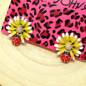 Hot Yellow Enamel Cute Beetle Sun Flower Betsey Johnson Women Stand Earrings