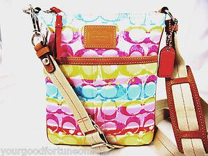 NWT Coach Scribble Stripe Swingpack Crossbody Shoulder Pink Multi 41232 Hampton