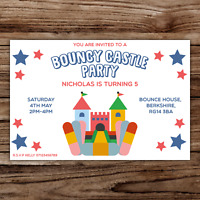 10 *PERSONALISED* BOUNCY CASTLE party INVITATIONS invites BIRTHDAY