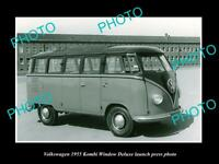 OLD LARGE HISTORIC PHOTO OF 1955 VOLKSWAGEN KOMBI DELUXE LAUNCH PRESS PHOTO
