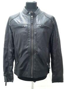 NEW Woodland Leathers SR-013 Mens Vintage Style Biker Jacket, Black - L