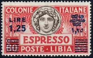 COLONIE LIBIA 1936 ESPRESSO 1,25 su 60c N. 17 DENT. 14 G.I **