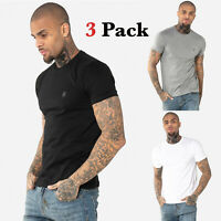 883 Police Mens Three 3 Pack Designer Cotton Crew Neck Slim Fit T Shirt Tee Top