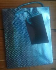 Holographic Blue Paper Gift Bag with tag, Birthday Party Easter Celebrations