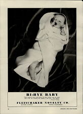 1950 PAPER AD Bi Bye Baby Doll Fleischaker Novelty Co Natural Easter Bunny Toy