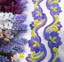 1 M Purple & Yellow Embroidered Venise Lace Trim Gorgeous Approx 4.6 cm wide