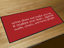 Funny Wine Quote printed red bar runner Cocktail Bars & Pubs
