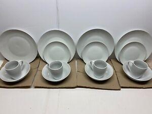 15 Piece Pure White Dish Microwavable Dinnerware Set Porcelain Kitchen Utensils