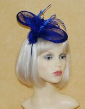 Elegant Royal Blue Sinamay Flower & Feathers Disc Fascinator On Head Band.