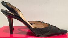 Authentic Linda Allard Ellen Tracy dulce croc black mules heels sandals Italy