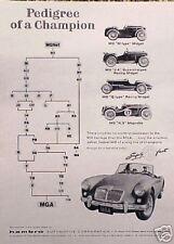 "1958 1959 MG MGA M G A ""Pedigree"" ORIGINAL Vintage Ad  CMY STORE   5+= FREE SHIP"