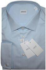 $315 NEW GIORGIO ARMANI COLLEZIONI SATIN LT BLUE FRENCH CUFF DRESS SHIRT 44 17.5